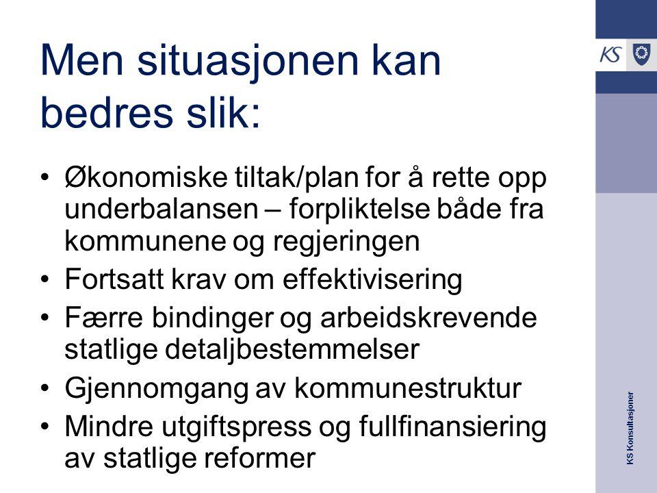 KS Konsultasjoner Men situasjonen kan bedres slik: Økonomiske tiltak/plan for å rette opp underbalansen – forpliktelse både fra kommunene og regjering