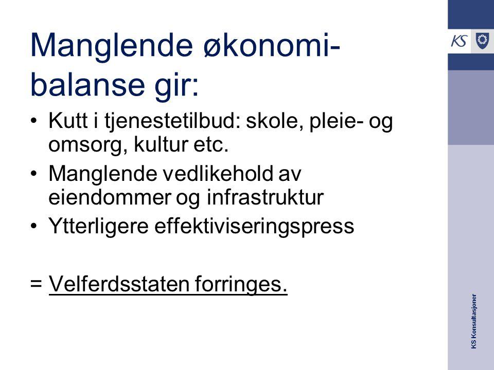 KS Konsultasjoner Manglende økonomi- balanse gir: Kutt i tjenestetilbud: skole, pleie- og omsorg, kultur etc.