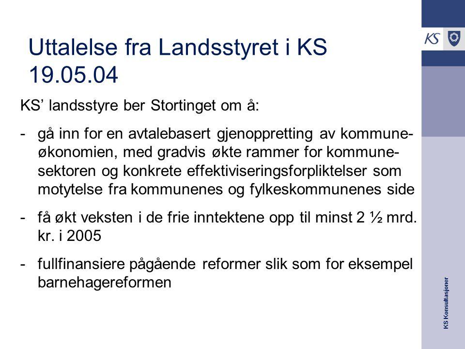 KS Konsultasjoner Uttalelse fra Landsstyret i KS 19.05.04 KS' landsstyre ber Stortinget om å: -gå inn for en avtalebasert gjenoppretting av kommune- ø