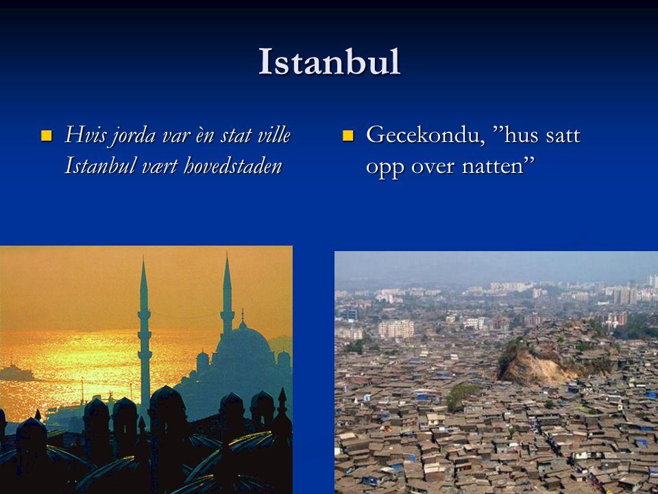 Istanbul Hvis jorda var èn stat ville Istanbul vært hovedstaden Hvis jorda var èn stat ville Istanbul vært hovedstaden Gecekondu, hus satt opp over natten