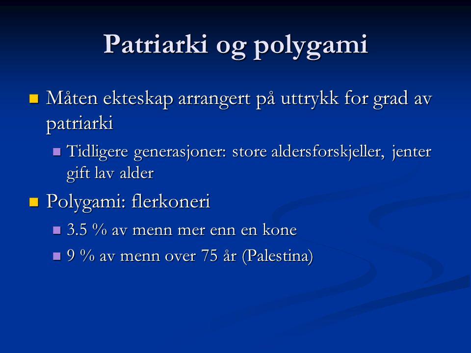 Patriarki og polygami Måten ekteskap arrangert på uttrykk for grad av patriarki Måten ekteskap arrangert på uttrykk for grad av patriarki Tidligere generasjoner: store aldersforskjeller, jenter gift lav alder Tidligere generasjoner: store aldersforskjeller, jenter gift lav alder Polygami: flerkoneri Polygami: flerkoneri 3.5 % av menn mer enn en kone 3.5 % av menn mer enn en kone 9 % av menn over 75 år (Palestina) 9 % av menn over 75 år (Palestina)