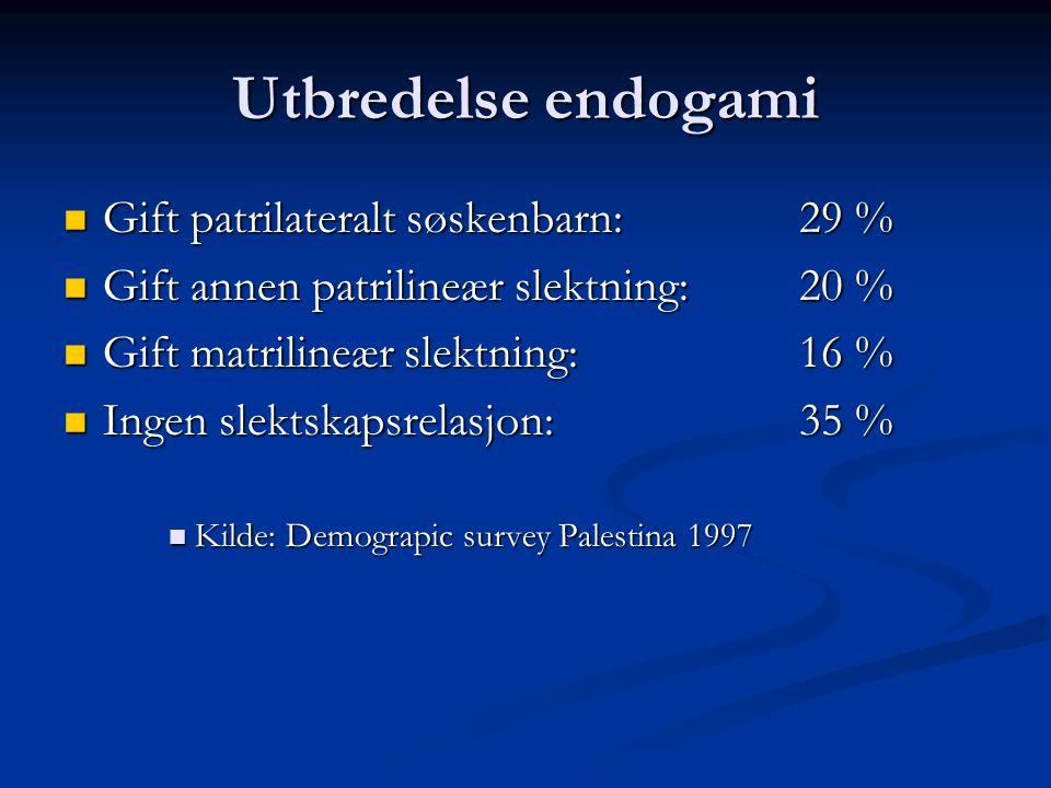 Utbredelse endogami Gift patrilateralt søskenbarn: 29 % Gift patrilateralt søskenbarn: 29 % Gift annen patrilineær slektning:20 % Gift annen patrilineær slektning:20 % Gift matrilineær slektning:16 % Gift matrilineær slektning:16 % Ingen slektskapsrelasjon:35 % Ingen slektskapsrelasjon:35 % Kilde: Demograpic survey Palestina 1997 Kilde: Demograpic survey Palestina 1997
