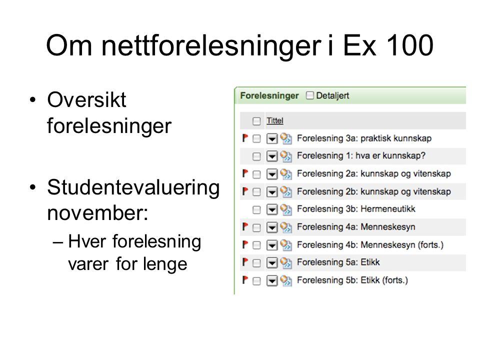 Om nettforelesninger i Ex 100 Oversikt forelesninger Studentevaluering november: –Hver forelesning varer for lenge