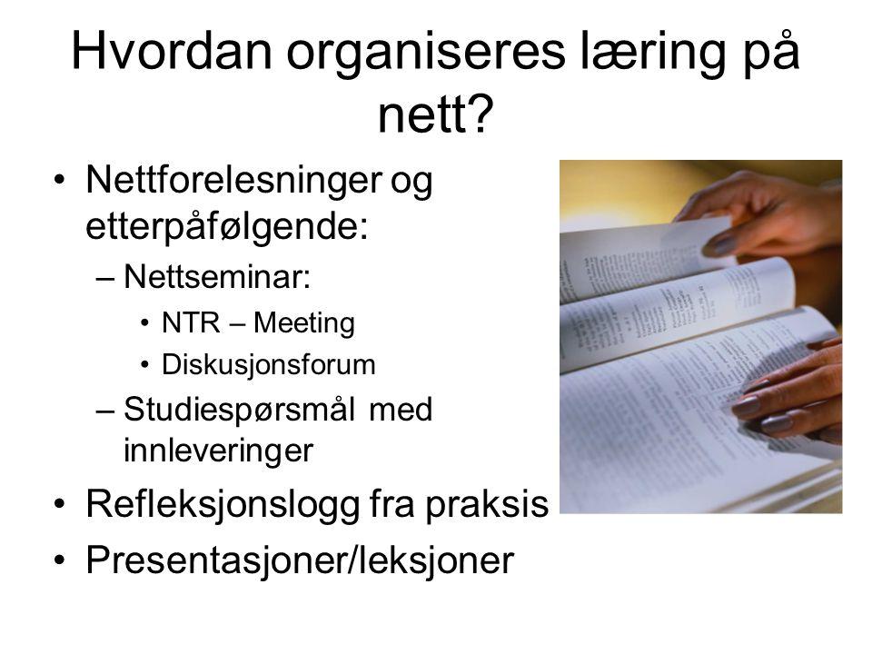 Hvordan organiseres læring på nett.