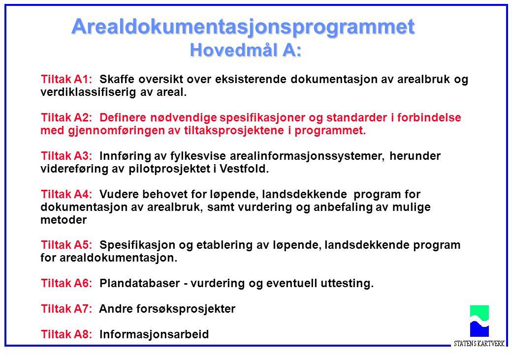 Arealdokumentasjonsprogrammet Hovedmål A: Tiltak A1: Skaffe oversikt over eksisterende dokumentasjon av arealbruk og verdiklassifiserig av areal. Tilt