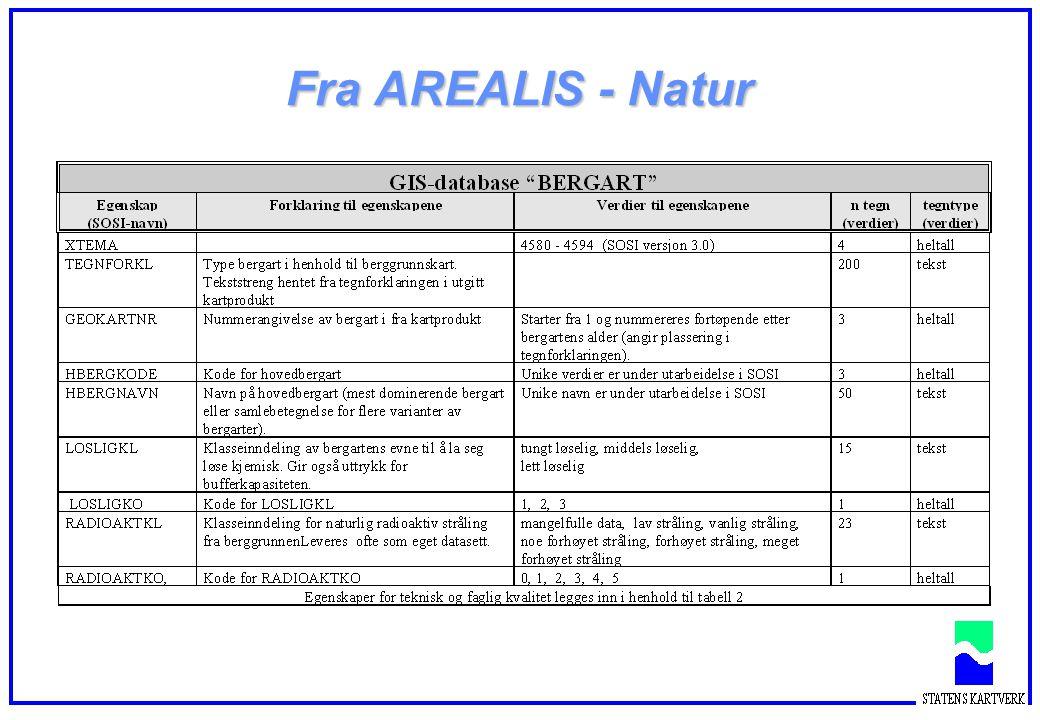 . INDEKSMINO RADIOAKTKOO RADIOAKTKLO GEOKARTNRO TEGNFORKLO BEFARGEKOO SOSI- objektkatalog FTEMA HBERGKODE HBERGNAVN BERGKODE BERGNAVN LOSLIGKO LOSLIGKL RADIOAKTKO RADIOAKTKL GEOKARTNR TEGNFORKL DEL1 DEL2 Geodatastandarden (Kvalitet og kvalitetssikring) Berggrunnsflate AREALIS Metadata Kvalitet Avledning Tilrette- legging