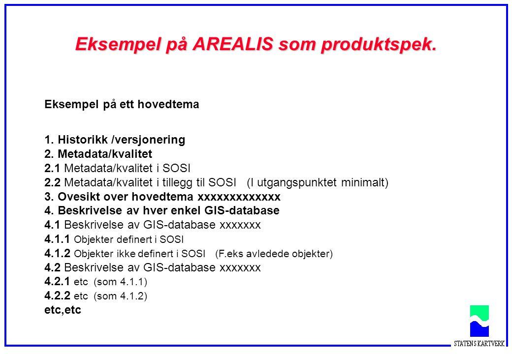 Eksempel på Arealis som produktspesifikasjon Spesifikasjon av objekter SOSI- del 2 kapittel Innskrenkning av verdidomene Objektnavn Egenskaper, obligatoriske og valgfrie