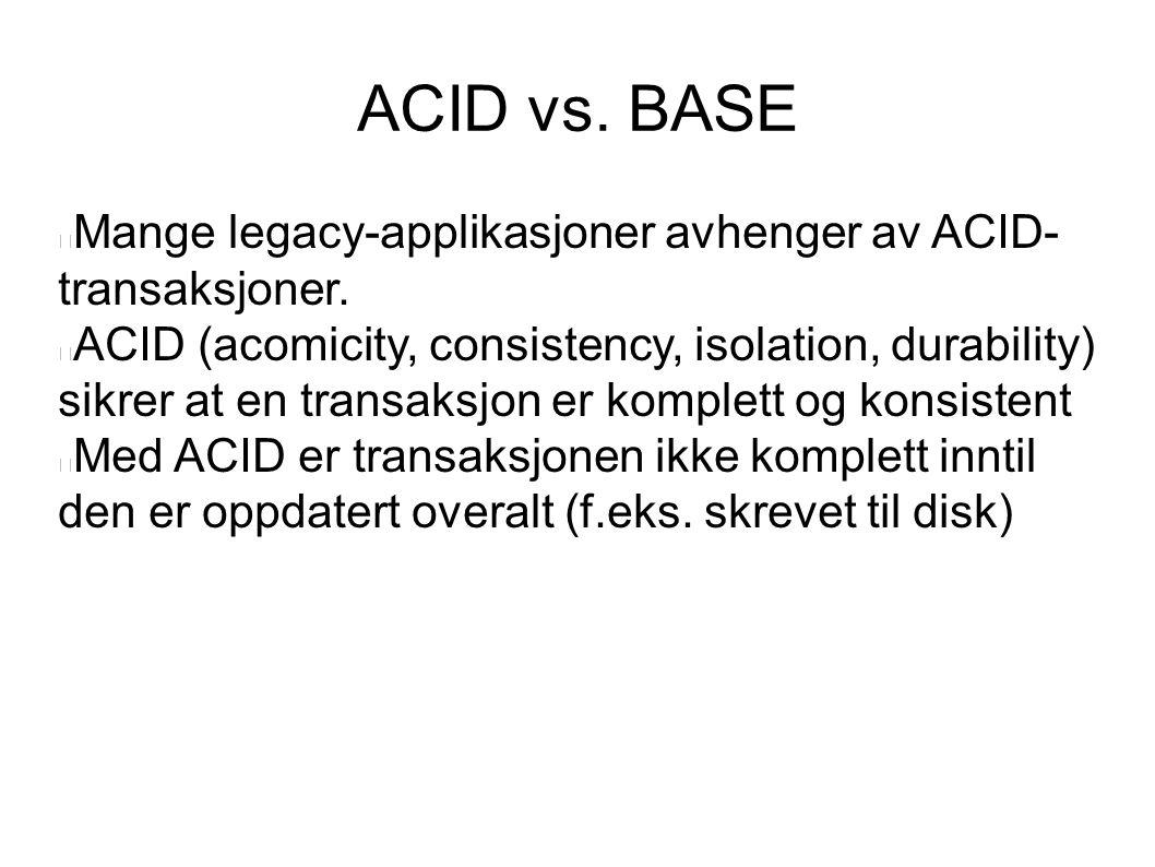 ACID vs.BASE Mange legacy-applikasjoner avhenger av ACID- transaksjoner.