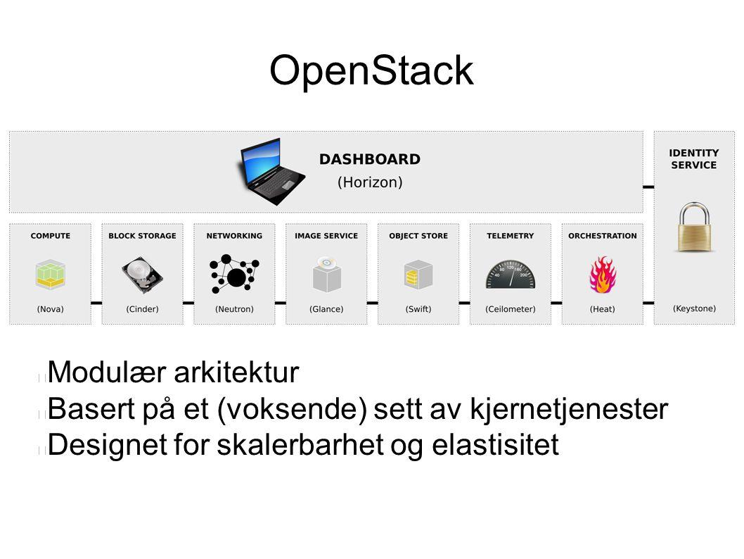 OpenStack Modulær arkitektur Basert på et (voksende) sett av kjernetjenester Designet for skalerbarhet og elastisitet