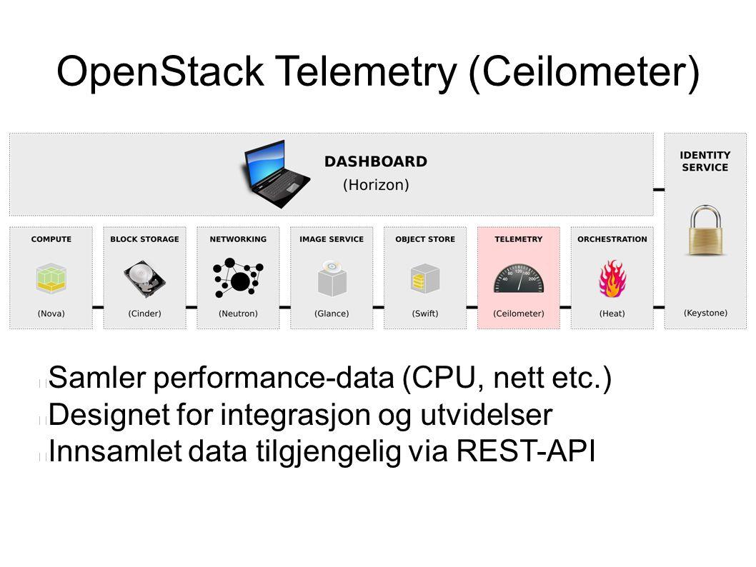 OpenStack Telemetry (Ceilometer) Samler performance-data (CPU, nett etc.) Designet for integrasjon og utvidelser Innsamlet data tilgjengelig via REST-API