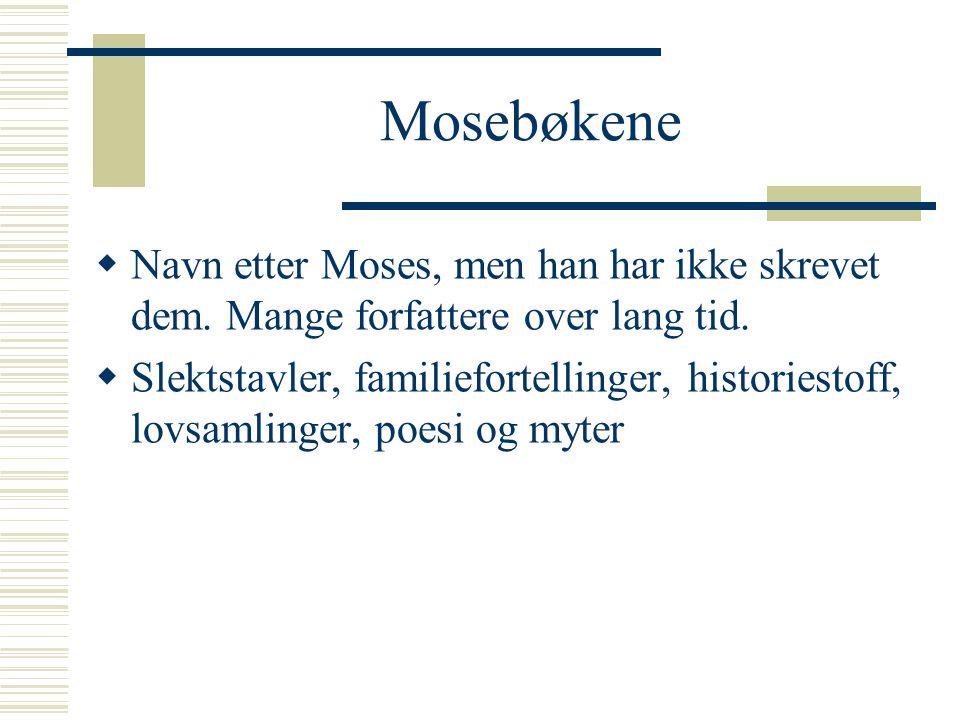 Mosebøkene  Navn etter Moses, men han har ikke skrevet dem. Mange forfattere over lang tid.  Slektstavler, familiefortellinger, historiestoff, lovsa
