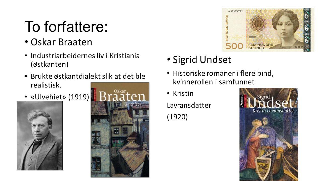 To forfattere: Oskar Braaten Industriarbeidernes liv i Kristiania (østkanten) Brukte østkantdialekt slik at det ble realistisk. «Ulvehiet» (1919) Sigr