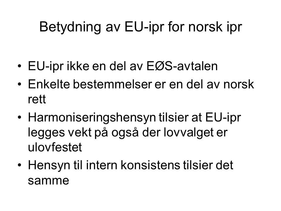 Betydning av EU-ipr for norsk ipr EU-ipr ikke en del av EØS-avtalen Enkelte bestemmelser er en del av norsk rett Harmoniseringshensyn tilsier at EU-ip
