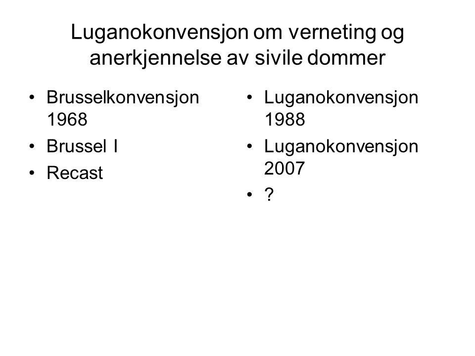 Luganokonvensjon om verneting og anerkjennelse av sivile dommer Brusselkonvensjon 1968 Brussel I Recast Luganokonvensjon 1988 Luganokonvensjon 2007 ?