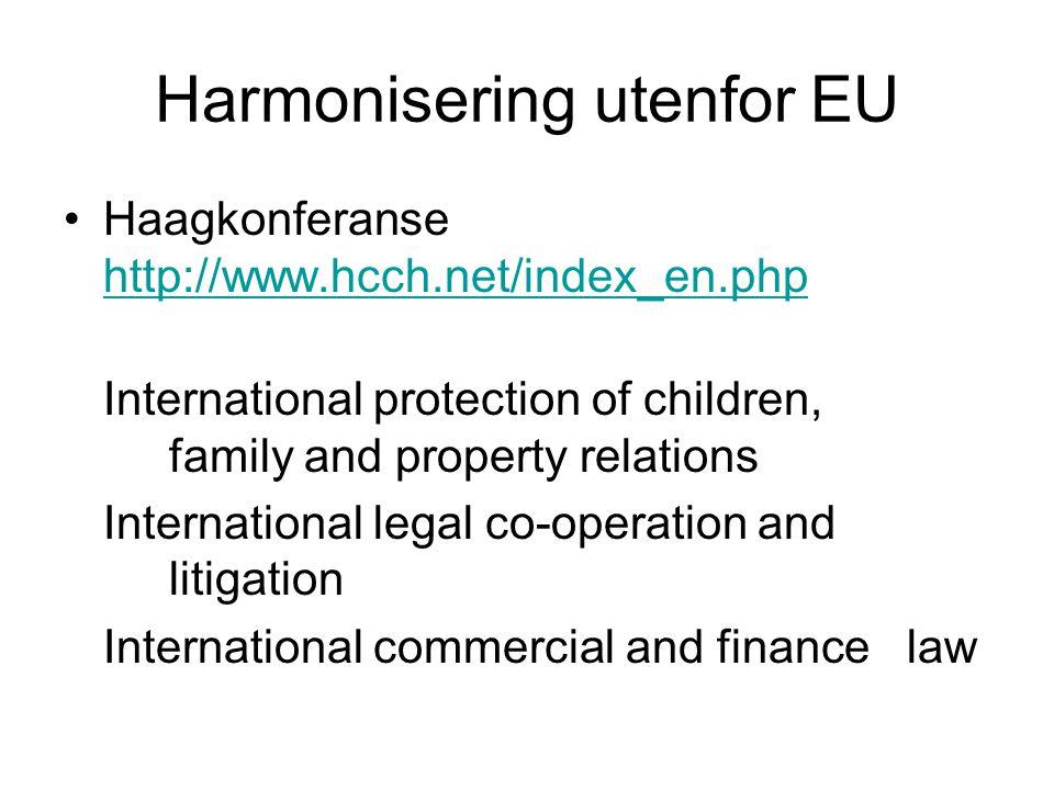 Harmonisering utenfor EU Haagkonferanse http://www.hcch.net/index_en.php http://www.hcch.net/index_en.php International protection of children, family