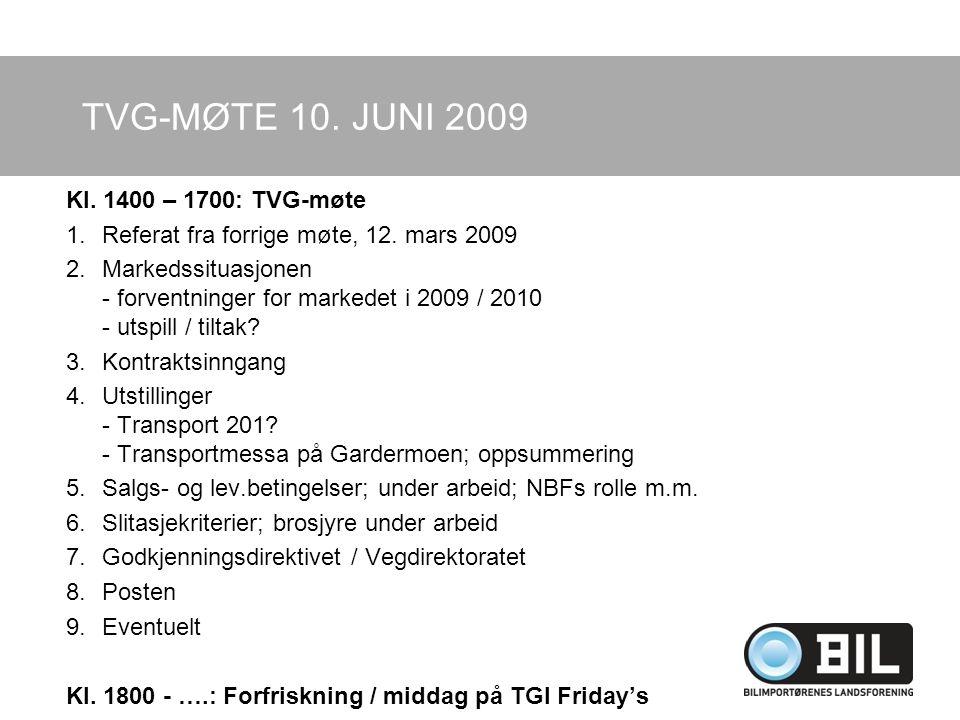 TVG-MØTE 10. JUNI 2009 Kl. 1400 – 1700: TVG-møte 1.Referat fra forrige møte, 12.