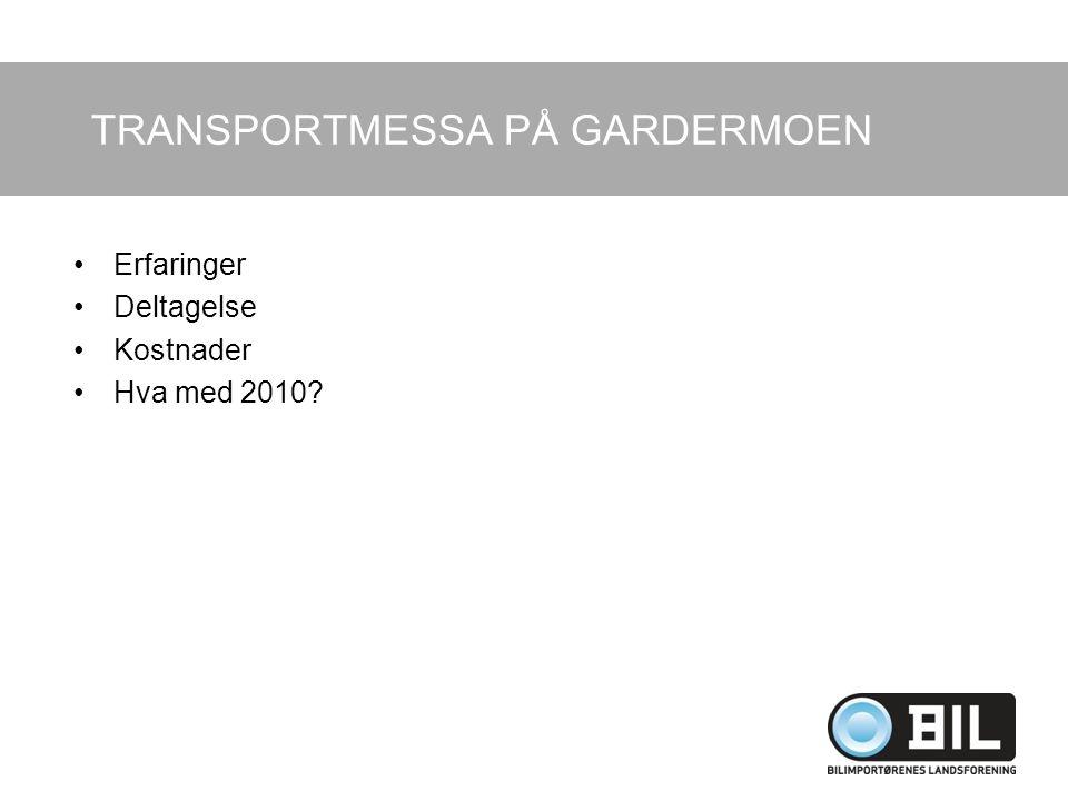 TRANSPORTMESSA PÅ GARDERMOEN Erfaringer Deltagelse Kostnader Hva med 2010