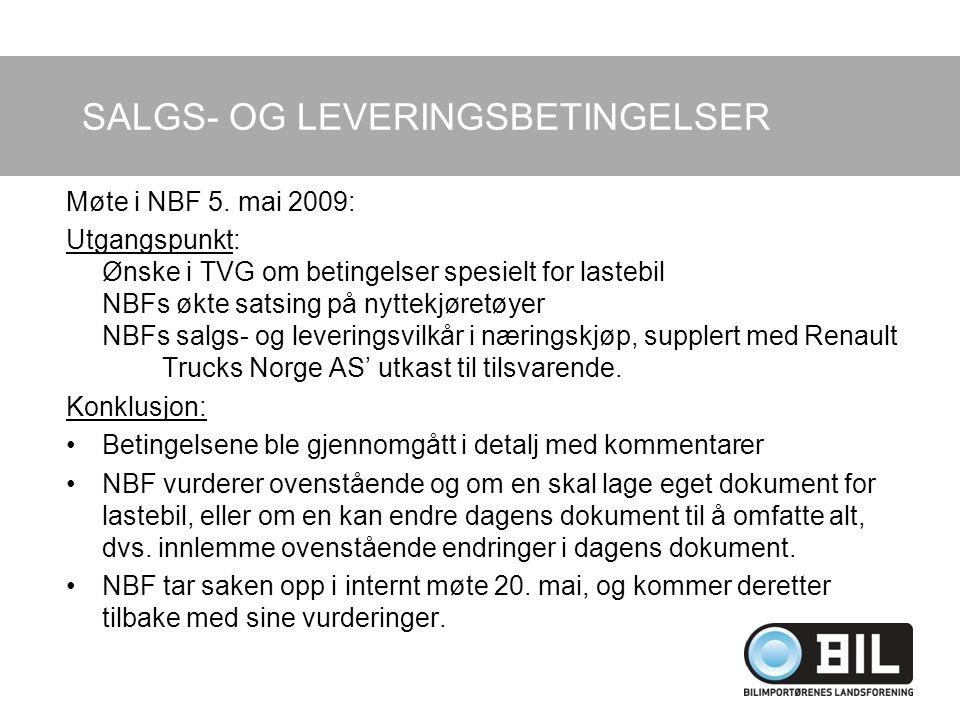 SALGS- OG LEVERINGSBETINGELSER Møte i NBF 5.