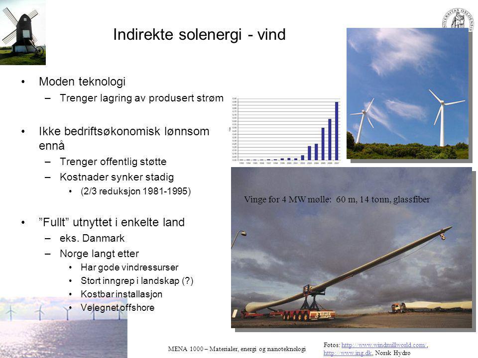 MENA 1000 – Materialer, energi og nanoteknologi Indirekte solenergi - vind Moden teknologi –Trenger lagring av produsert strøm Ikke bedriftsøkonomisk lønnsom ennå –Trenger offentlig støtte –Kostnader synker stadig (2/3 reduksjon 1981-1995) Fullt utnyttet i enkelte land –eks.