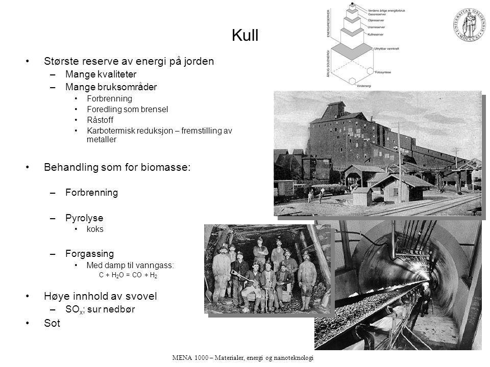 MENA 1000 – Materialer, energi og nanoteknologi Kull Største reserve av energi på jorden –Mange kvaliteter –Mange bruksområder Forbrenning Foredling som brensel Råstoff Karbotermisk reduksjon – fremstilling av metaller Behandling som for biomasse: –Forbrenning –Pyrolyse koks –Forgassing Med damp til vanngass: C + H 2 O = CO + H 2 Høye innhold av svovel –SO x ; sur nedbør Sot