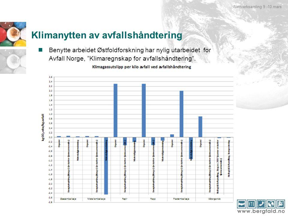 """Klimanytten av avfallshåndtering Benytte arbeidet Østfoldforskning har nylig utarbeidet for Avfall Norge, """"Klimaregnskap for avfallshåndtering""""...::Ne"""