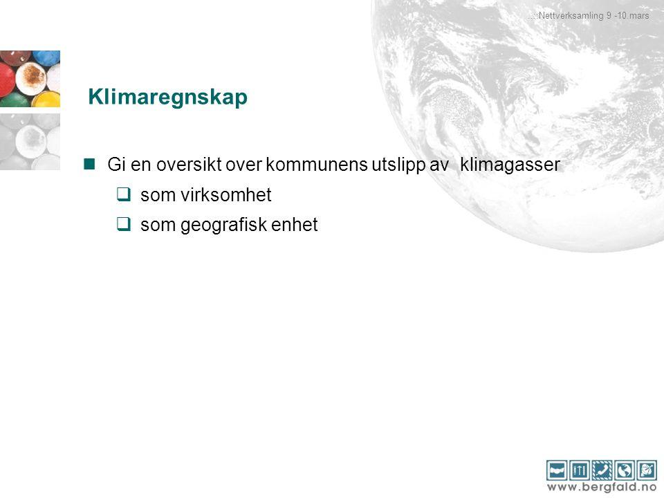Gi en oversikt over kommunens utslipp av klimagasser  som virksomhet  som geografisk enhet..::Nettverksamling 9 -10.mars Klimaregnskap