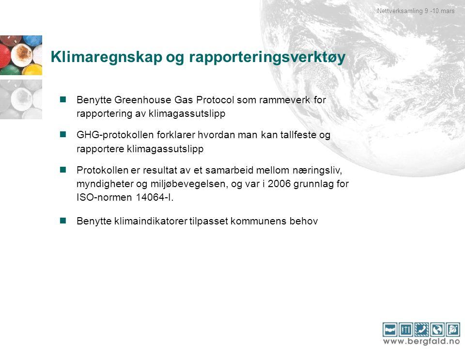 Klimaregnskap og rapporteringsverktøy Benytte Greenhouse Gas Protocol som rammeverk for rapportering av klimagassutslipp GHG-protokollen forklarer hvo