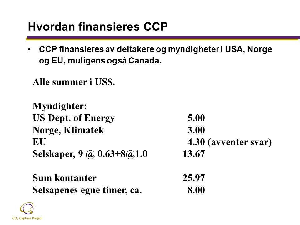 Hvordan finansieres CCP CCP finansieres av deltakere og myndigheter i USA, Norge og EU, muligens også Canada.