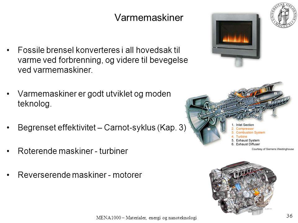 Varmemaskiner Fossile brensel konverteres i all hovedsak til varme ved forbrenning, og videre til bevegelse ved varmemaskiner. Varmemaskiner er godt u