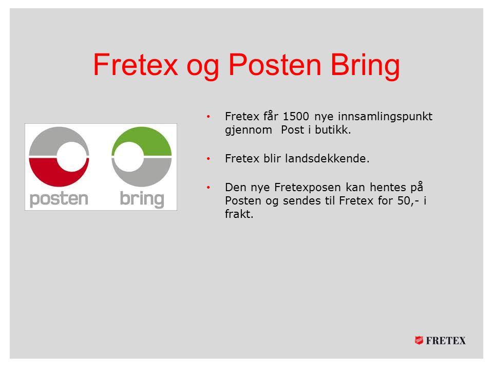 Fretex og Posten Bring Fretex får 1500 nye innsamlingspunkt gjennom Post i butikk. Fretex blir landsdekkende. Den nye Fretexposen kan hentes på Posten