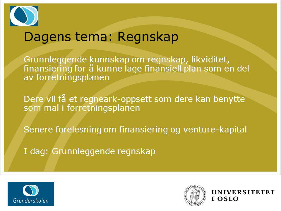 Dagens tema: Regnskap Grunnleggende kunnskap om regnskap, likviditet, finansiering for å kunne lage finansiell plan som en del av forretningsplanen De