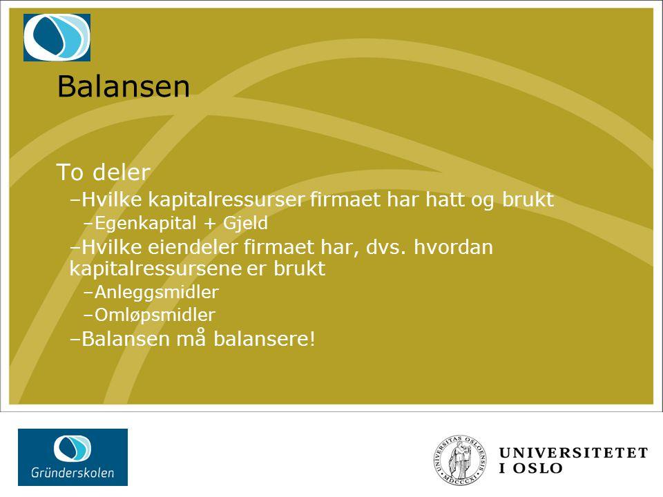 Balansen To deler –Hvilke kapitalressurser firmaet har hatt og brukt –Egenkapital + Gjeld –Hvilke eiendeler firmaet har, dvs. hvordan kapitalressursen