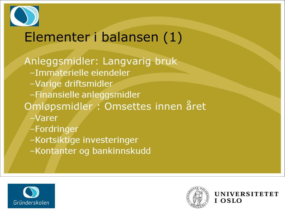 Elementer i balansen (1) Anleggsmidler: Langvarig bruk –Immaterielle eiendeler –Varige driftsmidler –Finansielle anleggsmidler Omløpsmidler : Omsettes