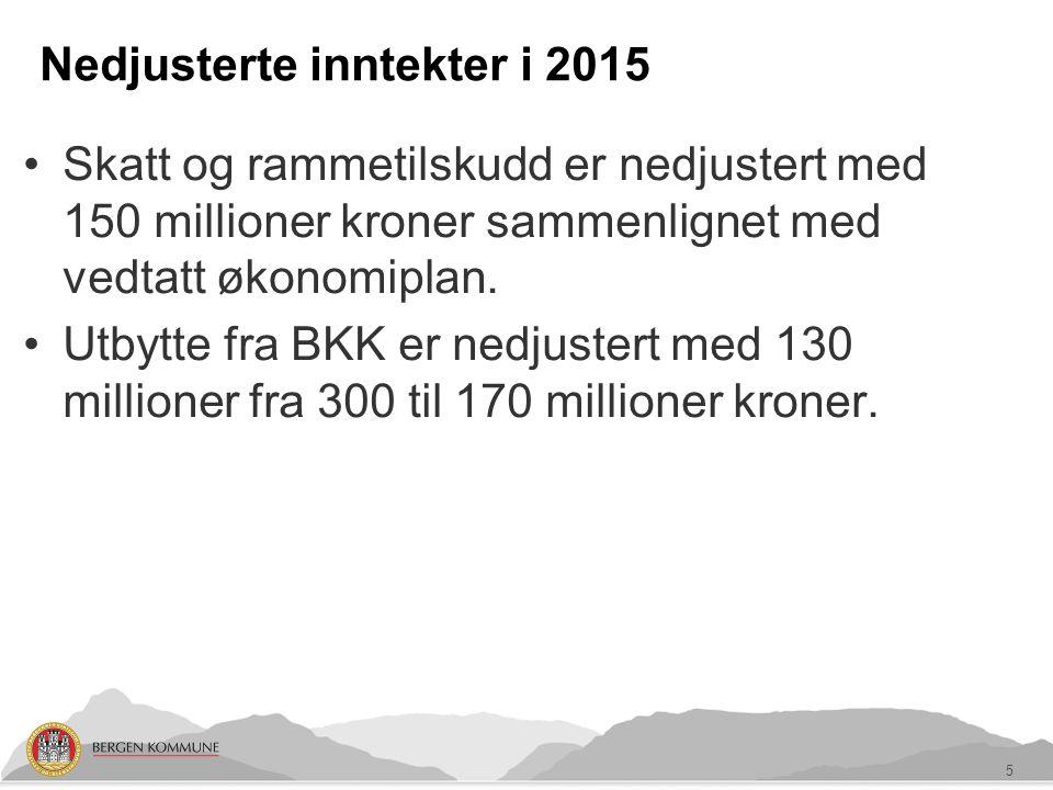Nedjusterte inntekter i 2015 Skatt og rammetilskudd er nedjustert med 150 millioner kroner sammenlignet med vedtatt økonomiplan.