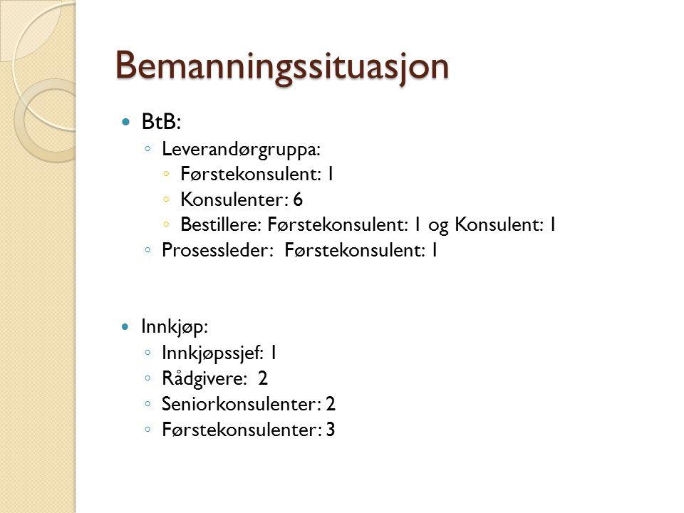 Bemanningssituasjon BtB: ◦ Leverandørgruppa: ◦ Førstekonsulent: 1 ◦ Konsulenter: 6 ◦ Bestillere: Førstekonsulent: 1 og Konsulent: 1 ◦ Prosessleder: Fø