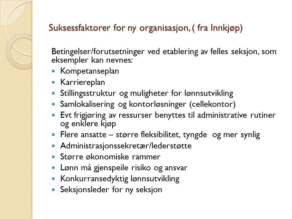 Suksessfaktorer for ny organisasjon, ( fra Innkjøp) Betingelser/forutsetninger ved etablering av felles seksjon, som eksempler kan nevnes: Kompetansep