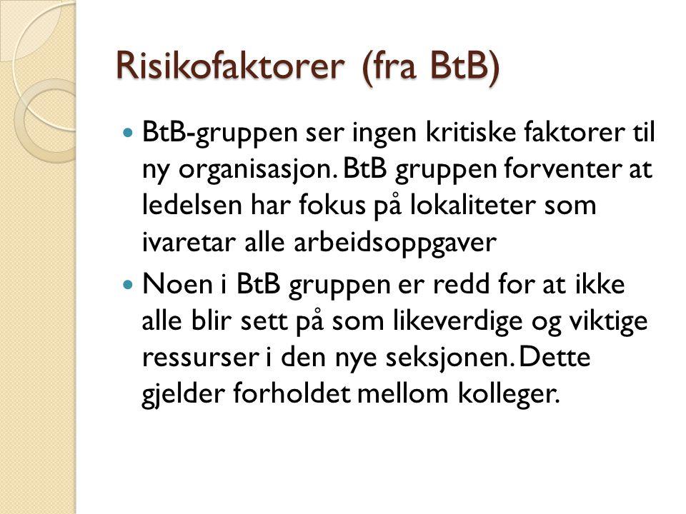 Risikofaktorer (fra BtB) BtB-gruppen ser ingen kritiske faktorer til ny organisasjon. BtB gruppen forventer at ledelsen har fokus på lokaliteter som i