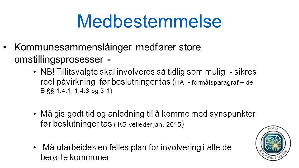Medbestemmelse Kommunesammenslåinger medfører store omstillingsprosesser - NB.