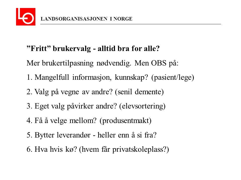 """LANDSORGANISASJONEN I NORGE """"Fritt"""" brukervalg - alltid bra for alle? Mer brukertilpasning nødvendig. Men OBS på: 1. Mangelfull informasjon, kunnskap?"""