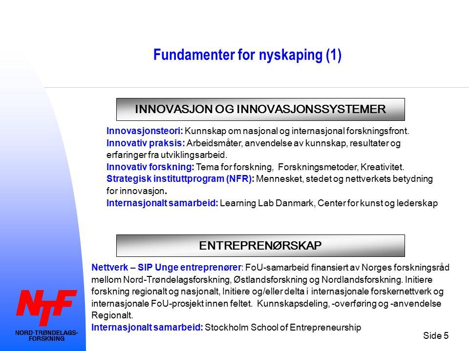 Side 5 Fundamenter for nyskaping (1) INNOVASJON OG INNOVASJONSSYSTEMER ENTREPRENØRSKAP Innovasjonsteori: Kunnskap om nasjonal og internasjonal forskni