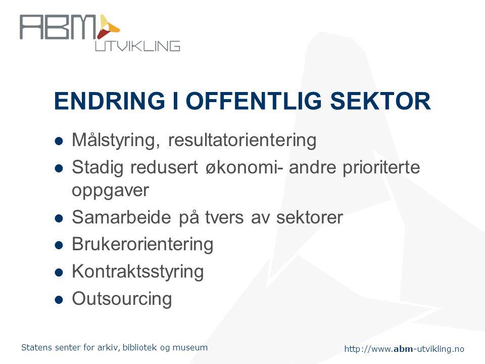 http://www.abm-utvikling.no Statens senter for arkiv, bibliotek og museum ENDRING I OFFENTLIG SEKTOR Målstyring, resultatorientering Stadig redusert ø