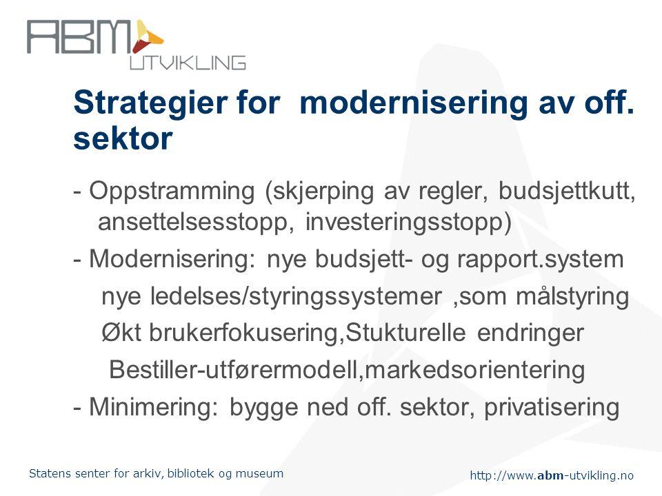 http://www.abm-utvikling.no Statens senter for arkiv, bibliotek og museum Strategier for modernisering av off. sektor - Oppstramming (skjerping av reg