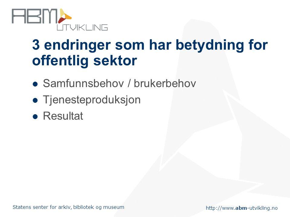 http://www.abm-utvikling.no Statens senter for arkiv, bibliotek og museum 3 endringer som har betydning for offentlig sektor Samfunnsbehov / brukerbeh
