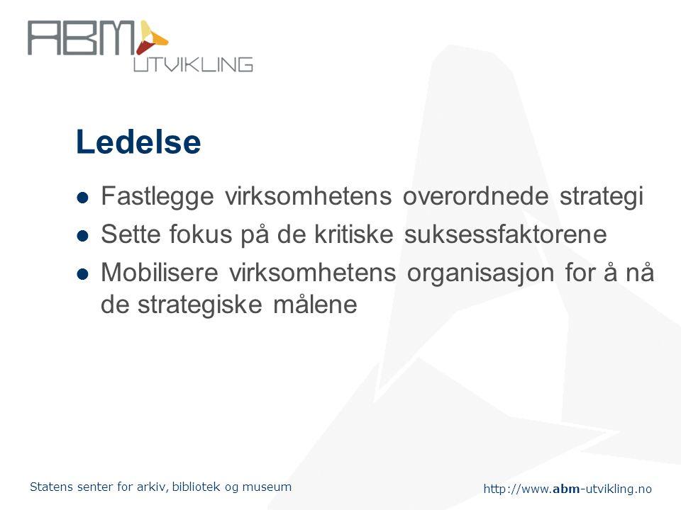 http://www.abm-utvikling.no Statens senter for arkiv, bibliotek og museum Ledelse Fastlegge virksomhetens overordnede strategi Sette fokus på de kriti