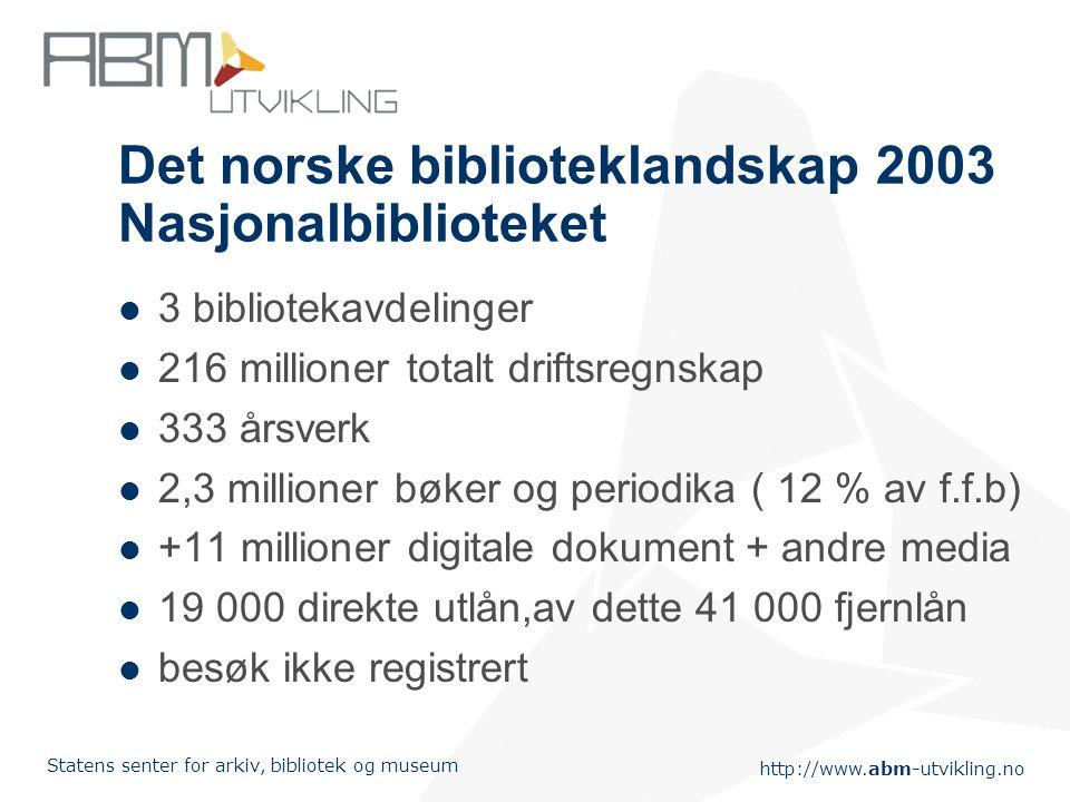 http://www.abm-utvikling.no Statens senter for arkiv, bibliotek og museum Det norske biblioteklandskap 2003 Nasjonalbiblioteket 3 bibliotekavdelinger