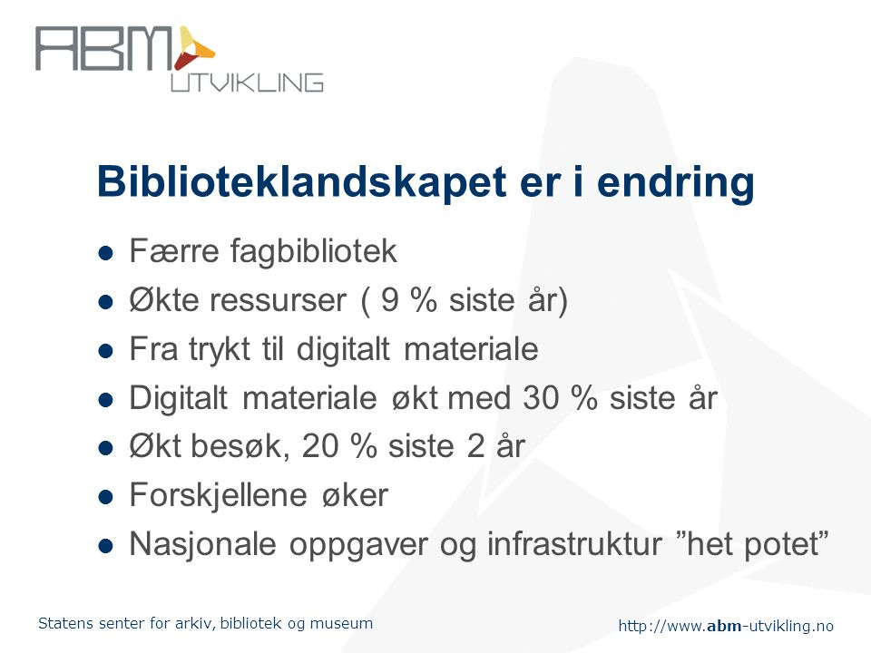 http://www.abm-utvikling.no Statens senter for arkiv, bibliotek og museum Biblioteklandskapet er i endring Færre fagbibliotek Økte ressurser ( 9 % sis