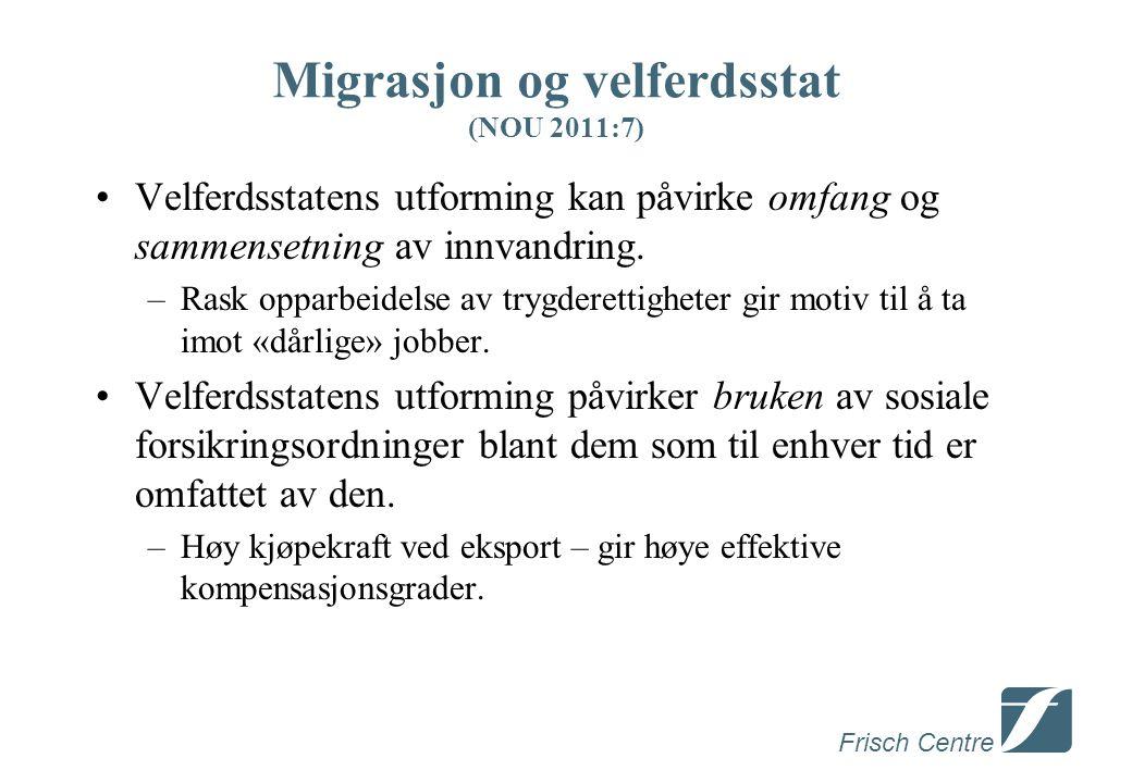 Frisch Centre Migrasjon og velferdsstat (NOU 2011:7) Velferdsstatens utforming kan påvirke omfang og sammensetning av innvandring.