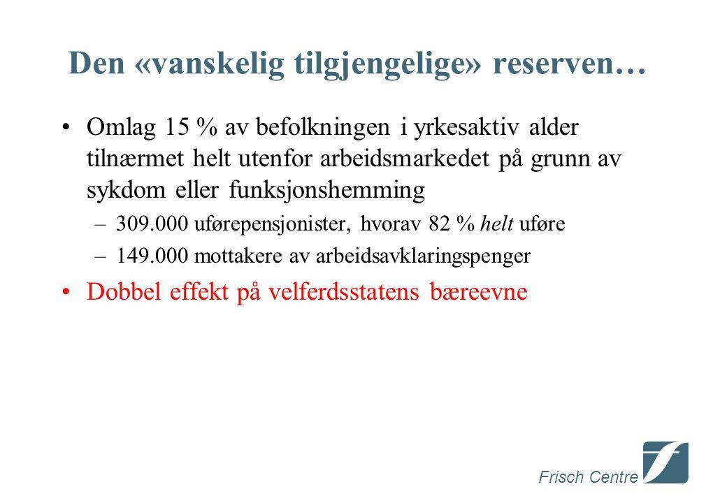 Frisch Centre Den norske «arbeidslinja» Basert på inntektssikring – men bare som «siste utvei» Mye fokus på tilbudssiden –Kvalifisering med sikte på å igjen å kunne konkurrere i det «ordinære» arbeidsmarkedet –Insentiver: Det skal lønne seg jobbe.
