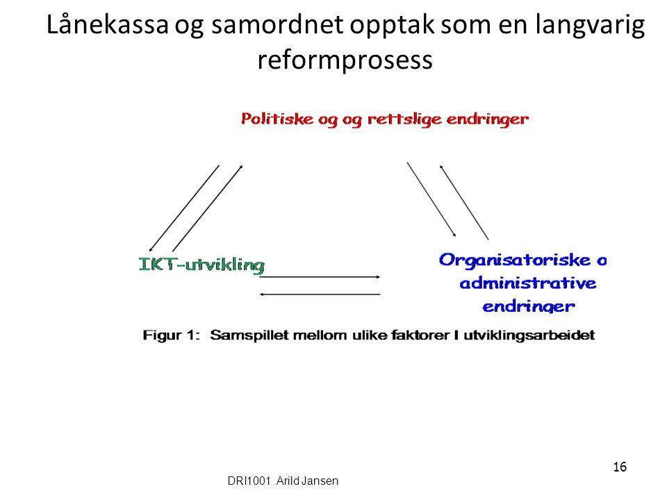 16 Lånekassa og samordnet opptak som en langvarig reformprosess DRI1001 Arild Jansen