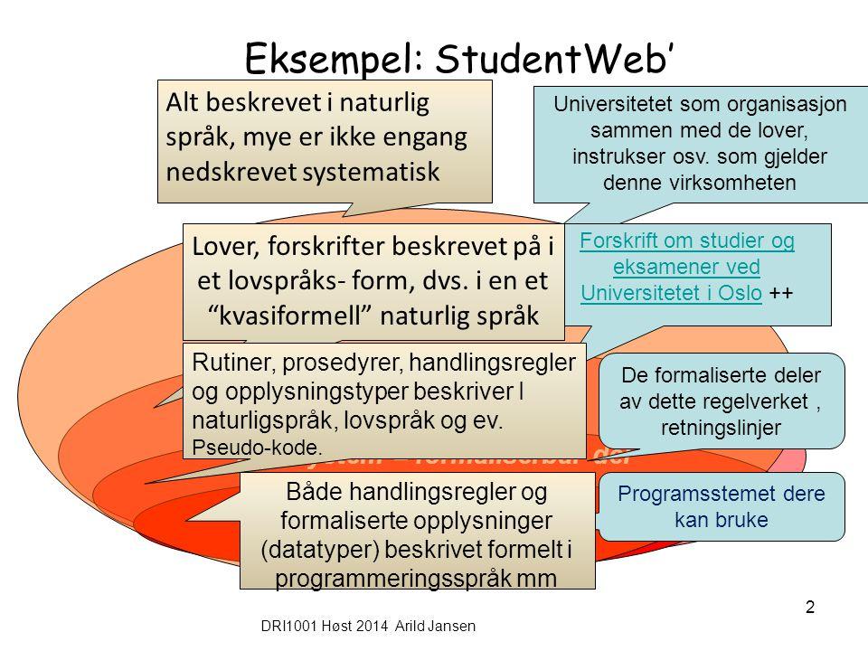 DRI1001 Høst 2014 Arild Jansen 2 Eksempel: StudentWeb' Informasjonssystem Datasystem = formaliserbar del StudentWeb Organisasjon Rammer for systemet U
